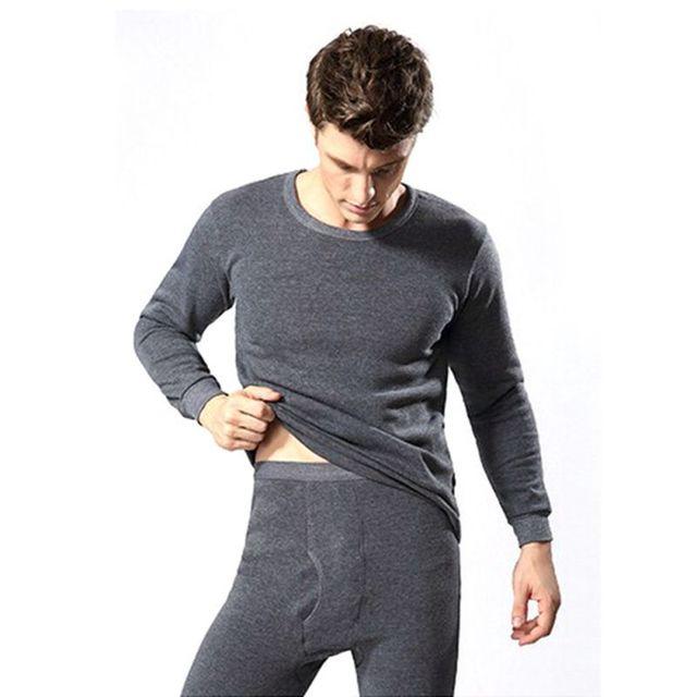 Hombres 2 unids underwear set espesar algodón térmico calzoncillos largos tops navy fondo azul, Gris oscuro, Gris claro