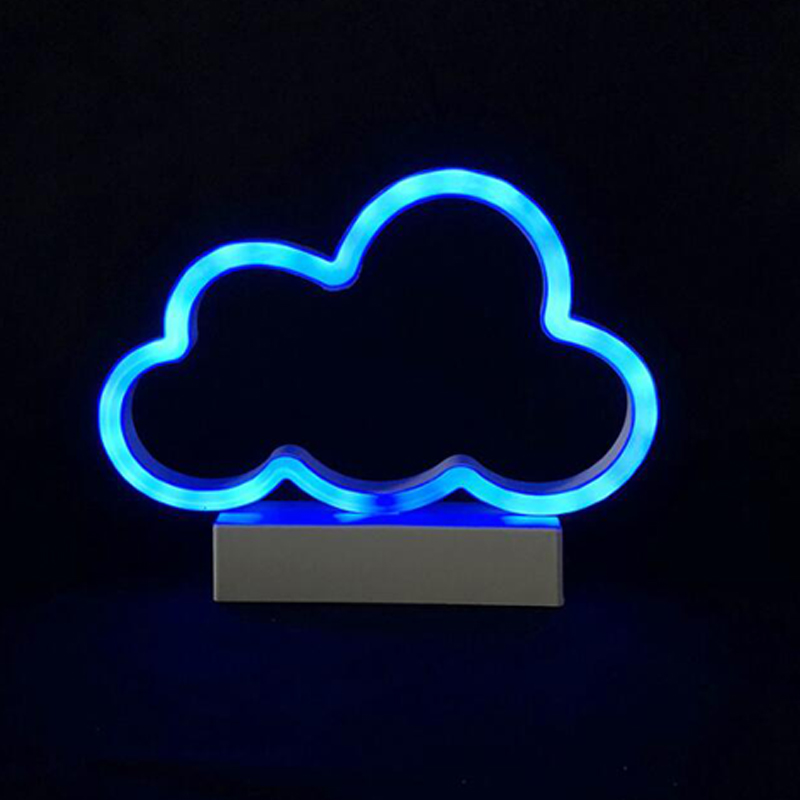 Fashion Battery Powered Led neon Pink love,Blue star,Blue cloud Modeling Light Holiday Xmas Kids Room Night Lamp Home Wall Decor
