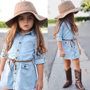 Cute Denim Blue Dress For Girl Toddler Long Sleeve Dress