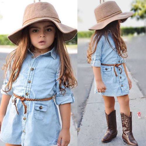 6d55dbeaa84b Denim Dress For Girl Toddler Princess Long Sleeve Dress Kids Baby ...