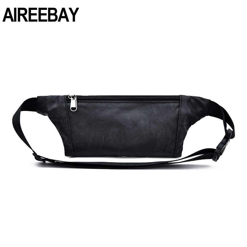 Aiiri bay عادية بولي Leather الجلود الخصر حقيبة الرجال المال الهاتف حزمة مراوح حزام خصر أسود حقيبة صغيرة السفر الورك محفظة تربط حول الخصر للذكور