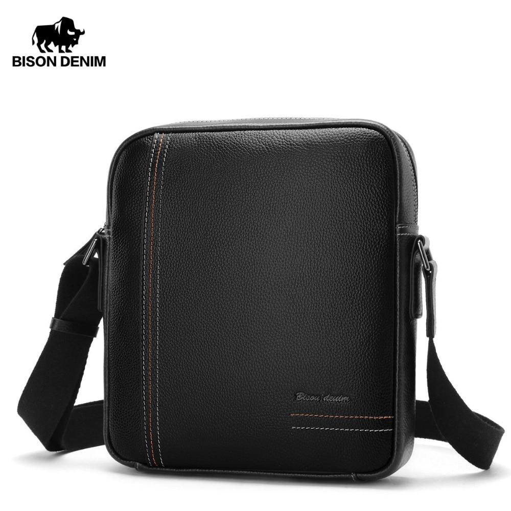 купить BISON DENIM Genuine Leather Men Shoulder Bag Cowskin Men Messenger Bag Ipad Designer Vintage Crossbody Bags For Men Male N2739 по цене 2618.08 рублей