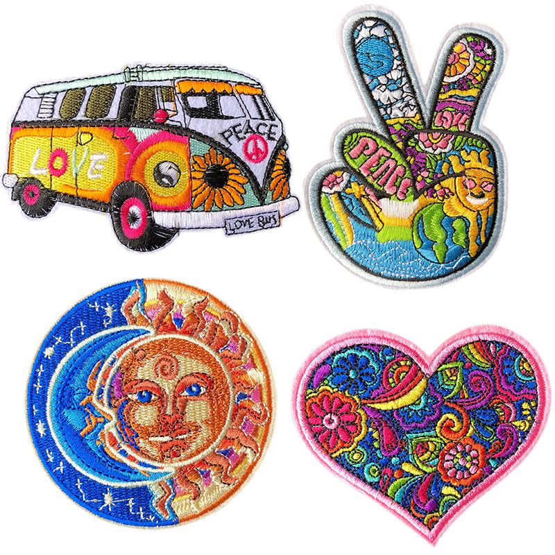 4Pcs Patch Cloth Badges Hippie Love Bus Flowers Peace Patch Art Embroidered Iron Sew On Patch Applique For DIY Clothing
