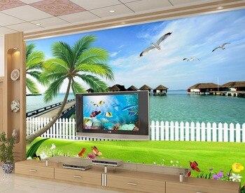 custom 3d wallpaper Tree sea landscape decoration painting 3d wallpaper for room photo wall murals wallpaper Обои
