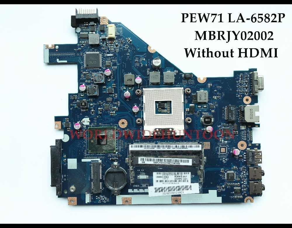 High quality PEW71 LA-6582P For ACER Aspire 5733 Laptop Motherboard MBRJY02002 HM55 PGA989 DDR3 without HDMI 100% Fully Tested nokotion laptop motherboard for acer 5742 nv55c mb r4l02 001 mbr4l02001 pew71 la 6582p ddr3 mainboard full work