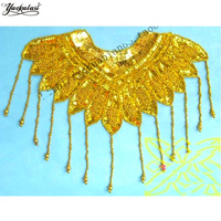 Sequined Applique Trims Embroidery Paillette Patches Flower Beaded V Neck Collar 33 26cm 6cm