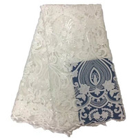 Vip Link Africa France Lace Fabric High Quality Jacquard With Sequins 5 Yards Pieces African Net