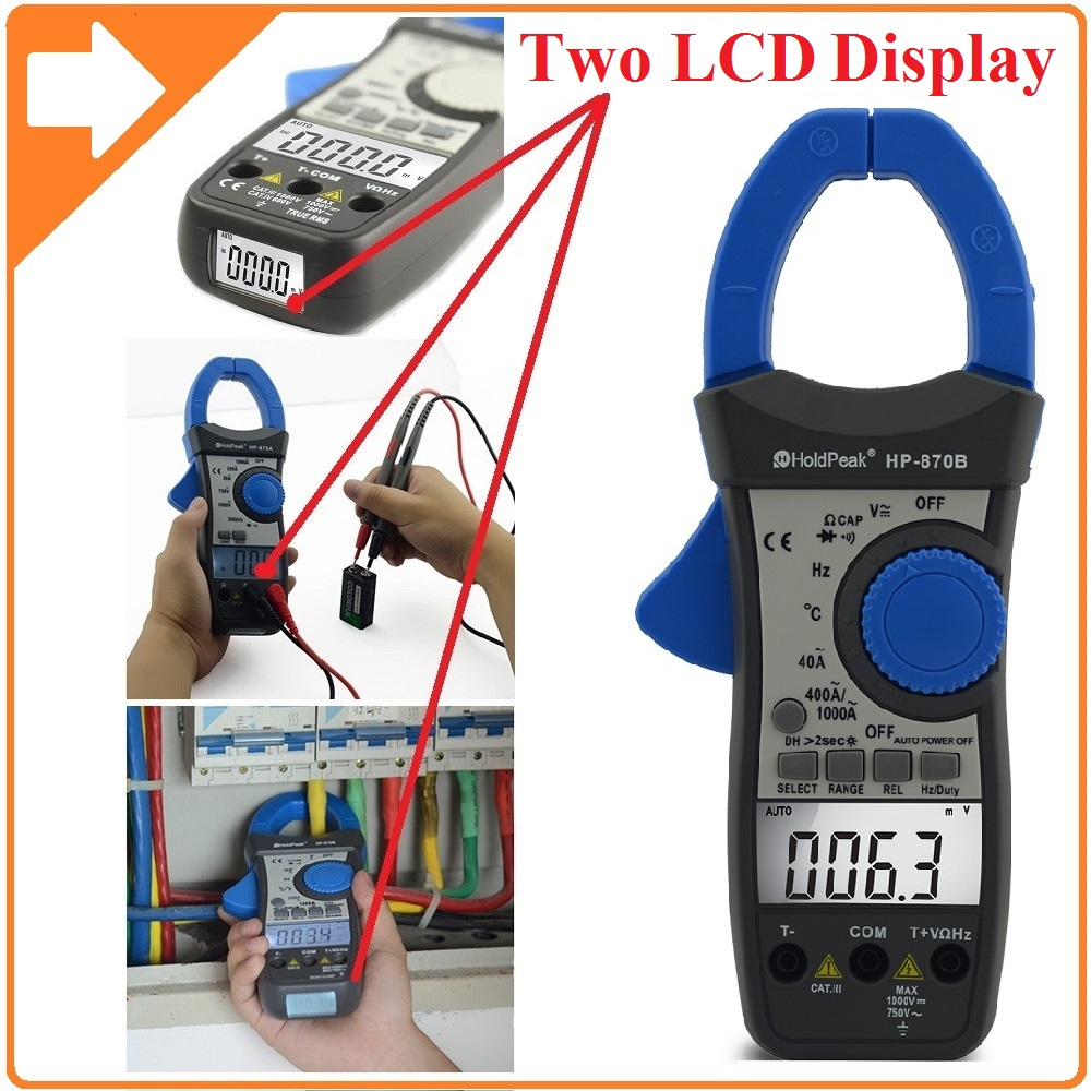 HoldPeak HP-870B Auto Range DC AC Digital Clamp Meter Multimeter Pinza Amperimetrica Amperimetro Backlight Auto Power Off hp 90b hp90b auto range digital multimeter digital avo meter