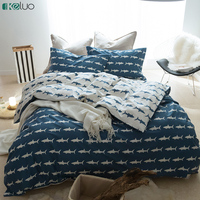 KELUO Pure Cotton Bedding Set Duvet Cover Bedclothes Print Bedding Sets Shark American Style 3 4PCS