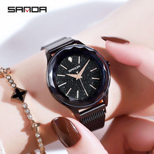 SANDA Luxury Brand lady Crystal Watch Magnet buckle Women Dress Watch Fashion Quartz Watch Female Stainless Steel Wristwatches