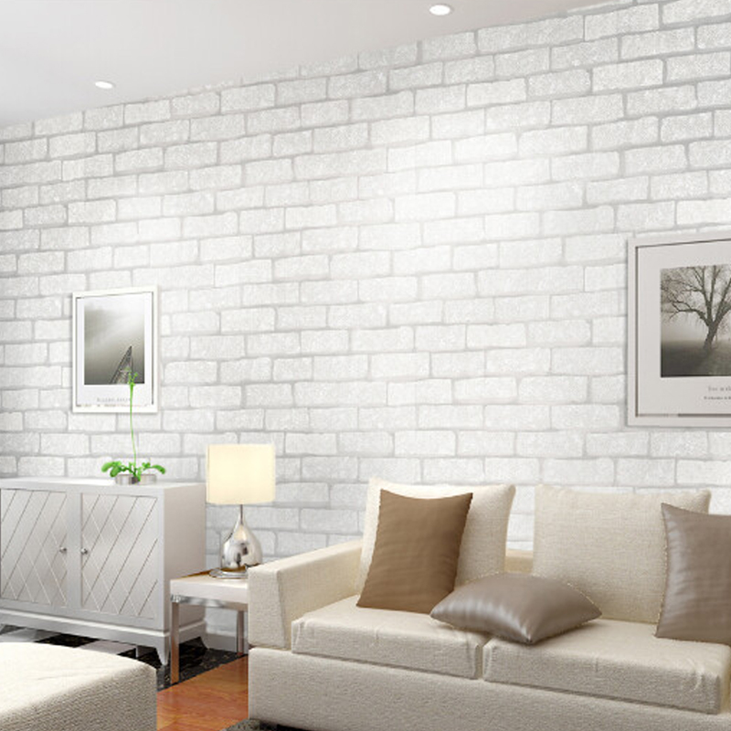 Beibehang Retro Embossed Wallpaper Brick Wall Modern White