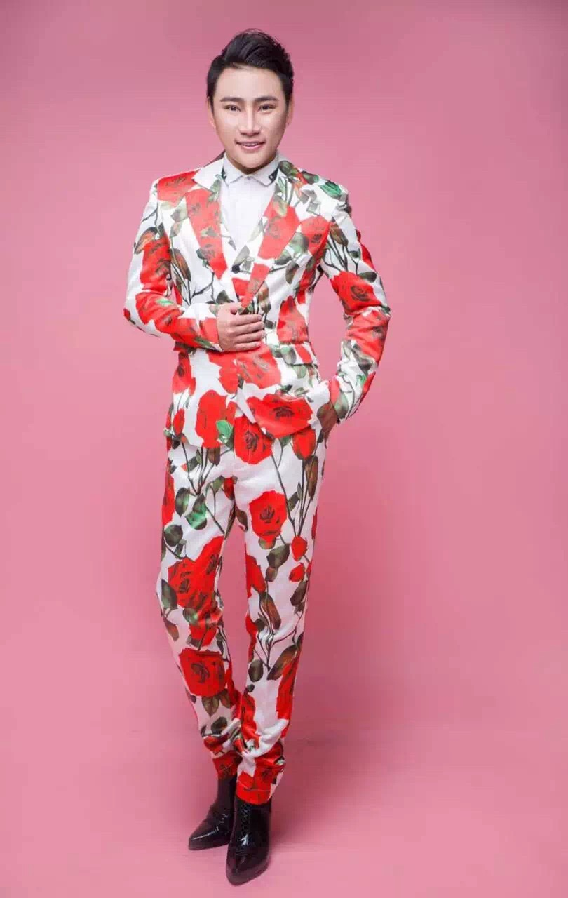 Jacket + vest + pants) Moda Masculina 3d Flor de Rose del Satén ...