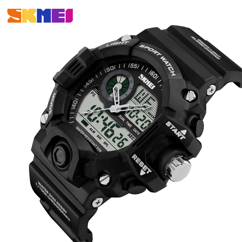SKMEI Sports Watch Men LED Digitala Klockor Dual Display Outdoor 50M Vattentät Armbandsur Militär Relogio Masculino 1029