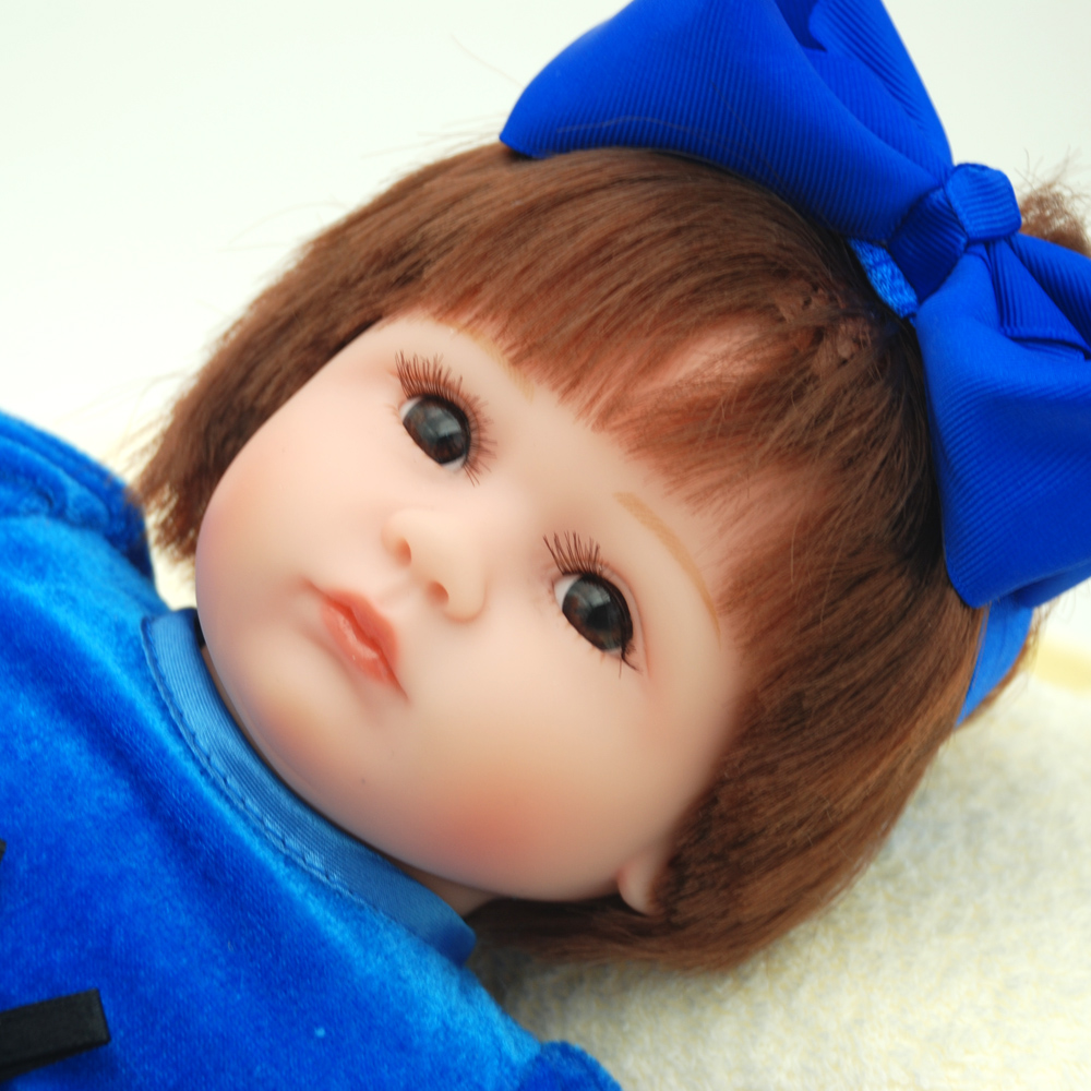 NicoSeeWonder 16 Inch Bonecas Bebe Reborn Baby Dolls Lifelike Cotton Body Reborn Toddler Toys Doll With Navy Dress For Gift short curl hair lifelike reborn toddler dolls with 20inch baby doll clothes hot welcome lifelike baby dolls for children as gift