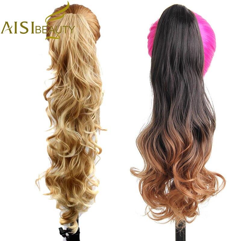 AISI SCHÖNHEIT Lange Wellenförmige Synthetische Klaue Clip Pferdeschwanz-haar Extensions kann gekräuselt werden Hohe Temperatur Faser Haarteile für Frauen