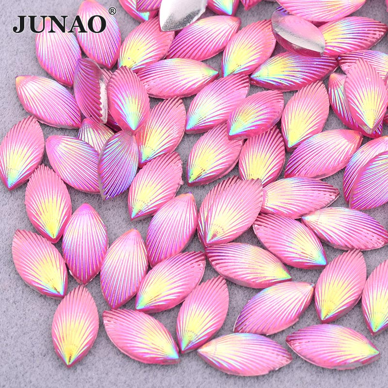 JUNAO 7x15mm Pink AB Horse Eye Rhinestones Applique Flat Back Resin Gems Decoration Crystal Stones Non Hotfix Strass Beads Craft