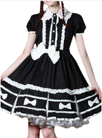 The New Brand PartissWomen Cap Sleeves Classic Black Lolita Dress With Cross Straps