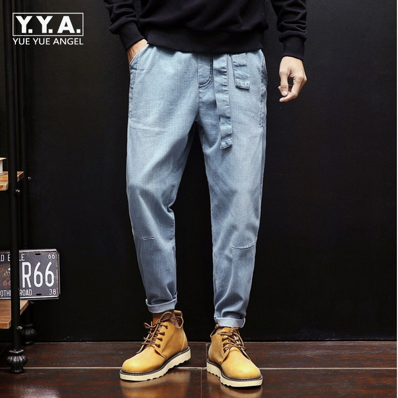 New Fashion Men Ladies Jeans Harem Pants Elastic Wasit Belted Cowboy Denim Trousers Loose Wide Leg Hip Hop Casual Pants Big Size vgh high waist loose denim harem pants women black ankle length jeans pants big size female jean trousers casual clothing
