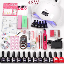 hot deal buy nail art tools 36w/48w/80w led uv nail lamp 10 colors gel  varnish electric machine accessories set for manicure acrylic kit