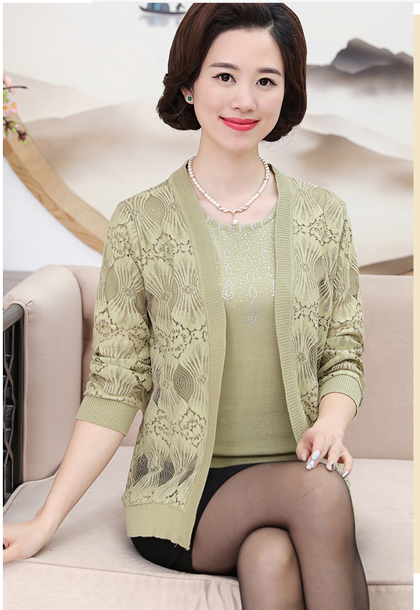 2017 Autumn New Middle Aged Women Really Two Sets Sweaters Lace ...