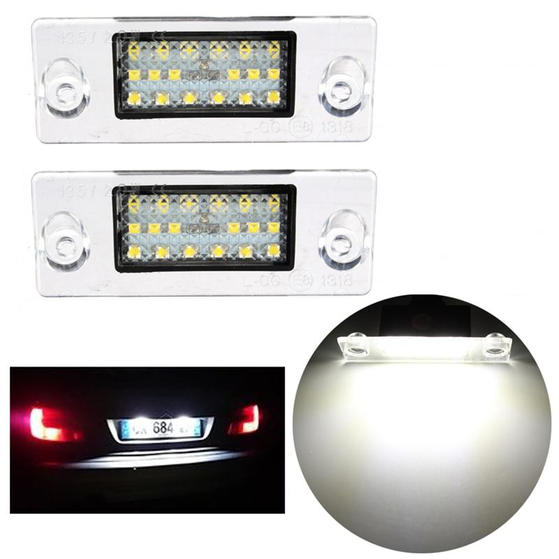2Pcs Car LED License Plate Light 12V SMD3528 LED Number Plate Lamp For Audi A4 S4 B5 98-01 White Error Free 2pcs car led license number plate light lamp 6w 12v 24 led white light for ford focus 2 c max