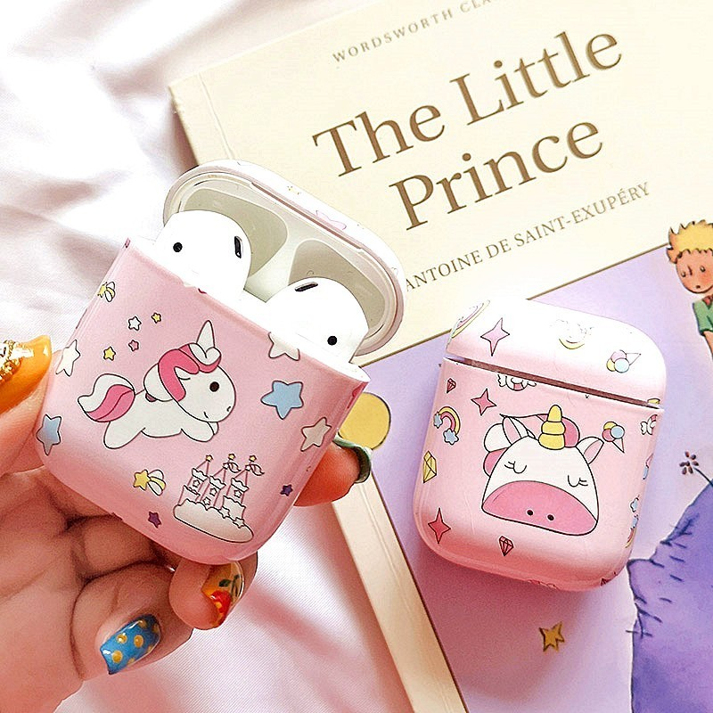 Cute Unicorn Stars Earphone Case For apple airpods Bluetooth Wireless Hard Charging Box Headphone Accessories Protective Cover-in Earphone Accessories from Consumer Electronics