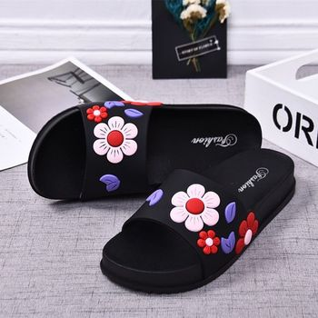 2019 Women Slippers Fashion Summer lovely Ladies Casual Slip On  Beach Flip Flops Slides Woman Indoor Shoes Flower TUX3 drop shipping women s slide on slip on mules loafer flats shoes rhinestone slides slippers new fashion woman mules flip flops