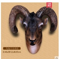 Sheep Goat head wall hanging imitation deer head animal sculpture Crafts Ornament Statue Home Furnishing business gift Pendant