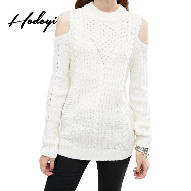 Hodoyi Sexy Cold Shoulder White Sweater Casual Loose Long Sleeve ...