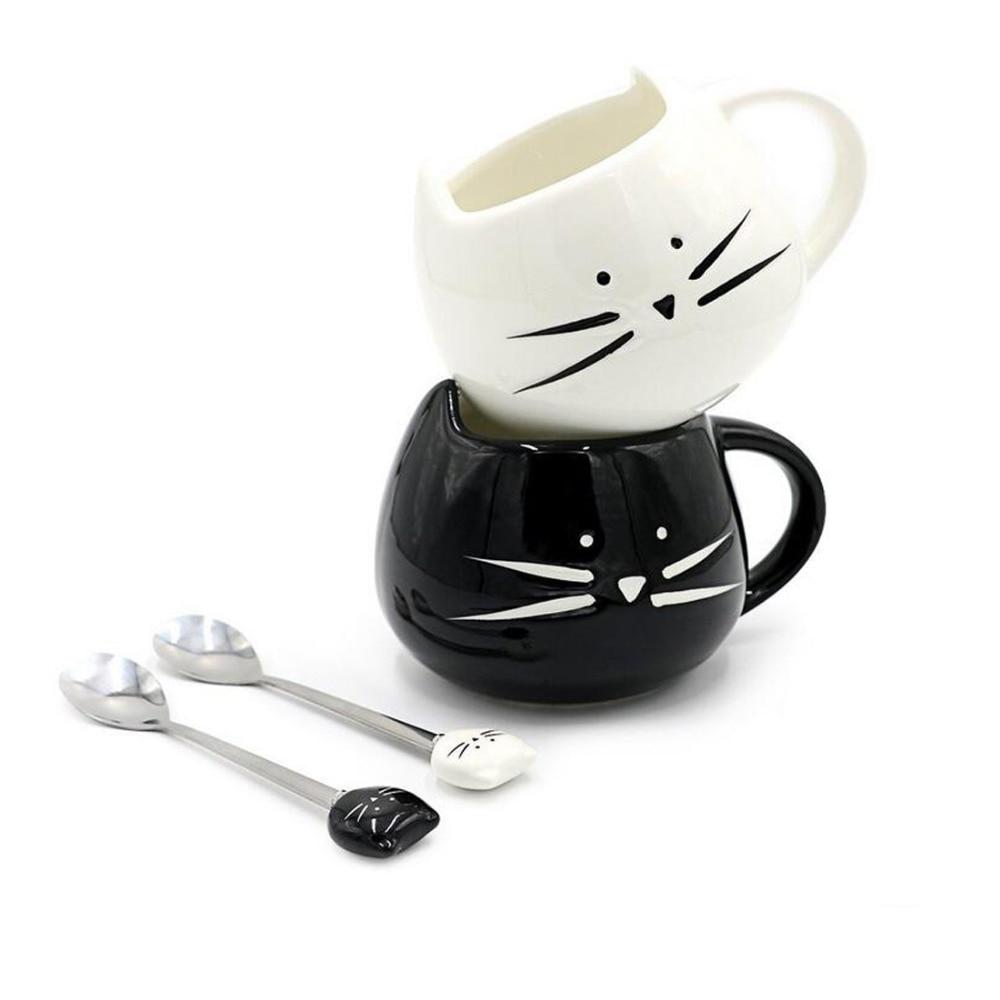 UzeQu Taza de café de cerámica linda Novedad Leche Tazas y tazas de té Cat creativo Tazas con cucharas Tazas de animales Drinkware Regalo de Navidad