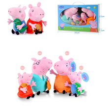 30cm Peppa Pig Plush Filled Toy Animated Character George and Mother Action Figure Child Doll Set