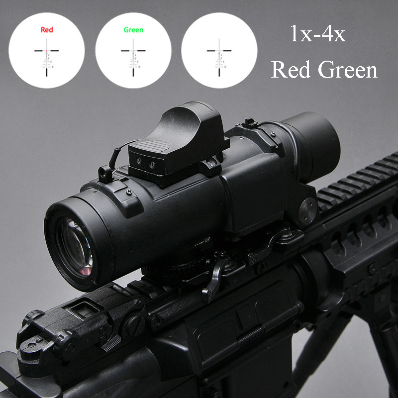 Tactical Optics Riflescope 1x-4x Fixed Dual Purpose Scope With Mini Red Dot Sight Scope Hunting Scopes for Airsoft Air Guns Caza 1x23x34 red dot scope hunting airsoft optics tactical optics air guns pistol sight scopes chasse holographic red dot sight