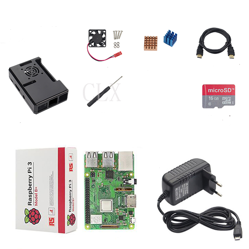 Raspberry Pi 3 Model B+ ( B Plus ) or Raspberry Pi 3 Model B+ABS Case+Heat Sink+ 5V 3APower Adapter+HDMI Cable+screw