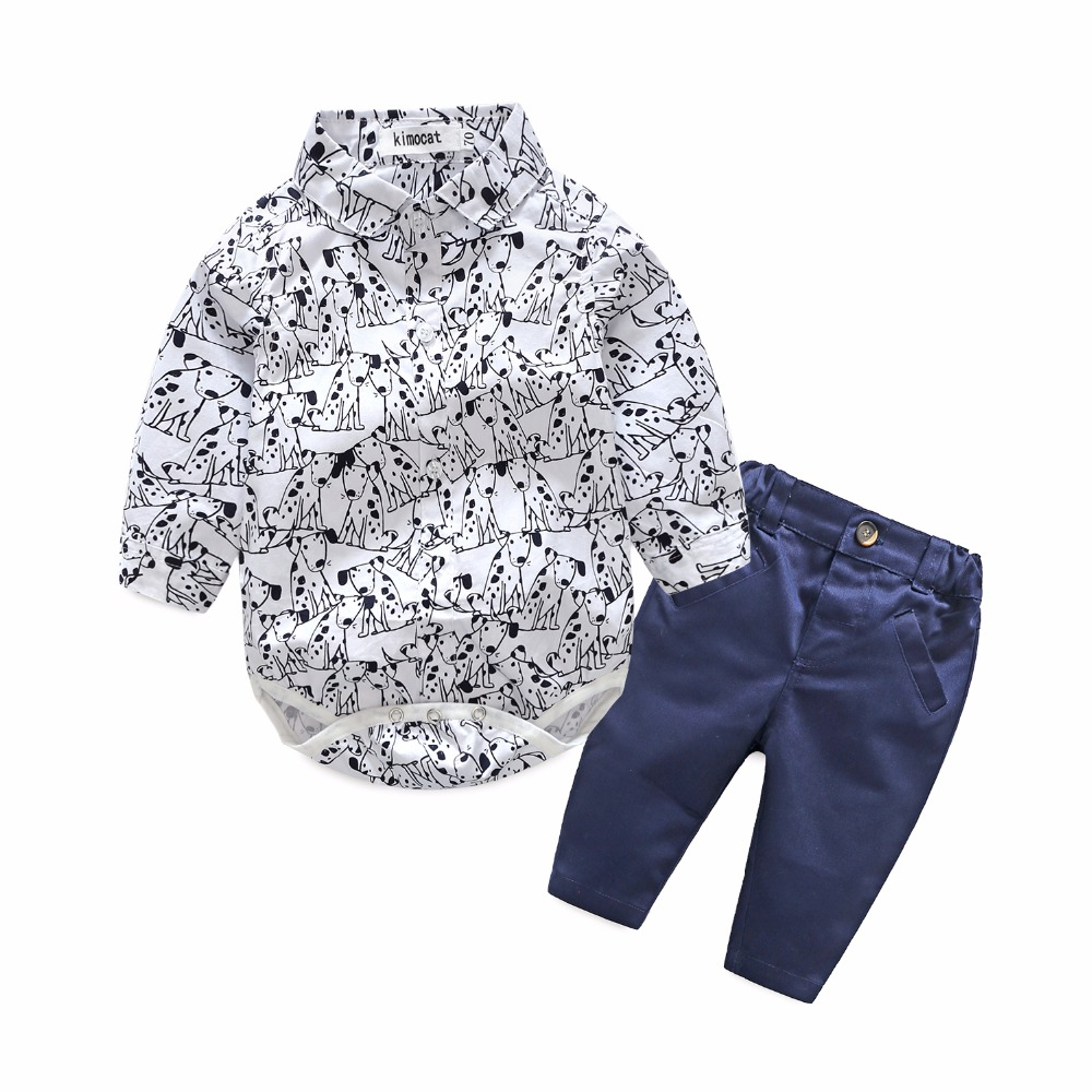 Kimocat bebe baby boy clothes dog printed long sleeve newborns clothes 2 piece of set baby clothing set roupa de bebe baby set baby boy clothes 2 pieces