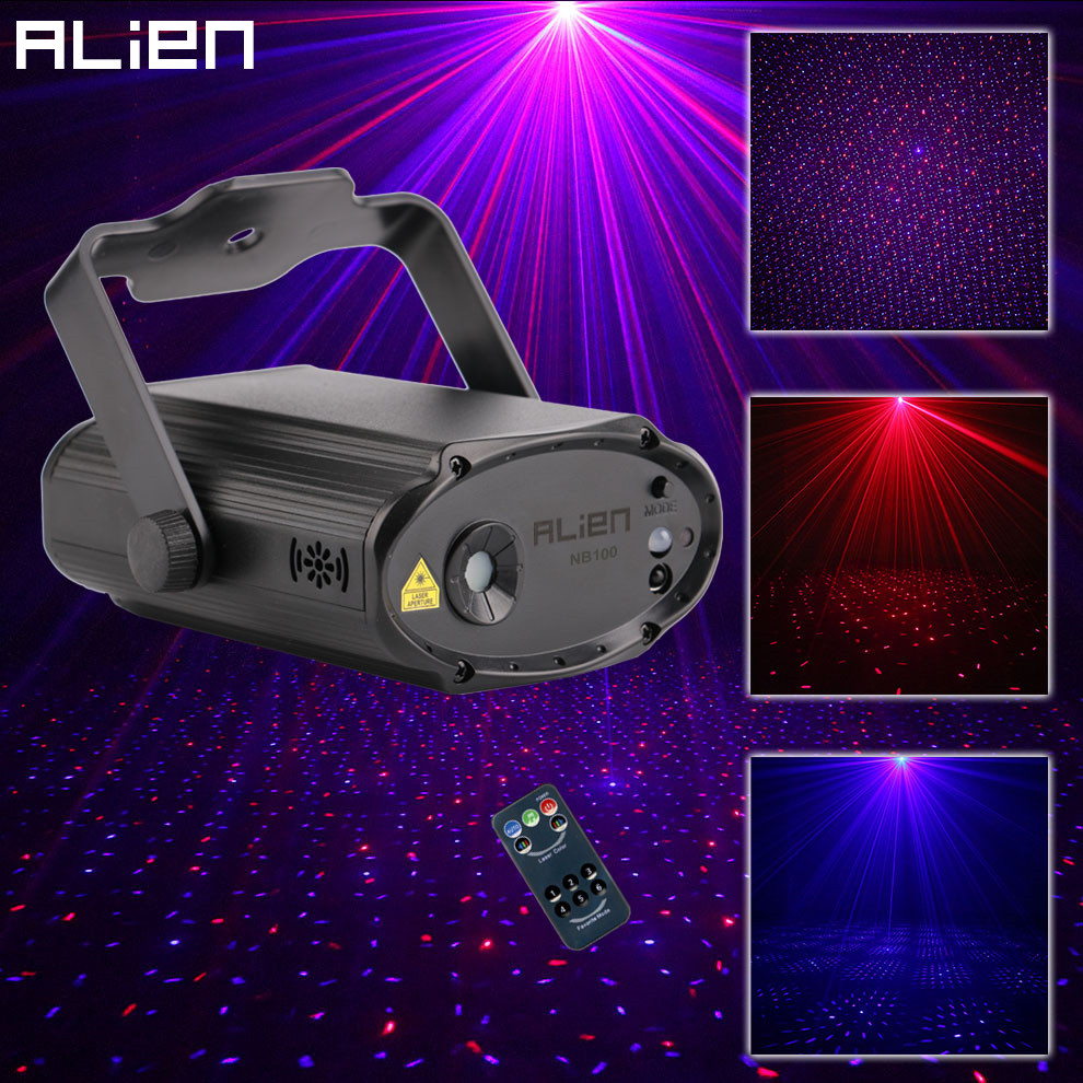 ALIEN Remote RB Star Dots DJ Disco Party Laser Projector Holiday Christmas Dance Wedding Stage Lighting Effect Sound Activated alien 12 patterns rgb remote laser stage lighting effect dj disco dance holiday lights laser projector party light equipment