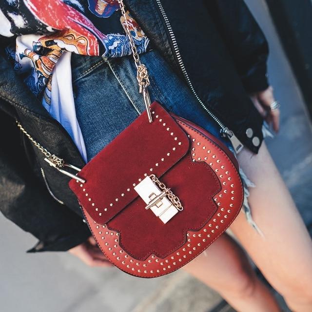 d6da97198d7e shoulder bags handbags women famous brands suede leather saddle bag vintage  design rivet crossbody bag luxury chain bags ladies