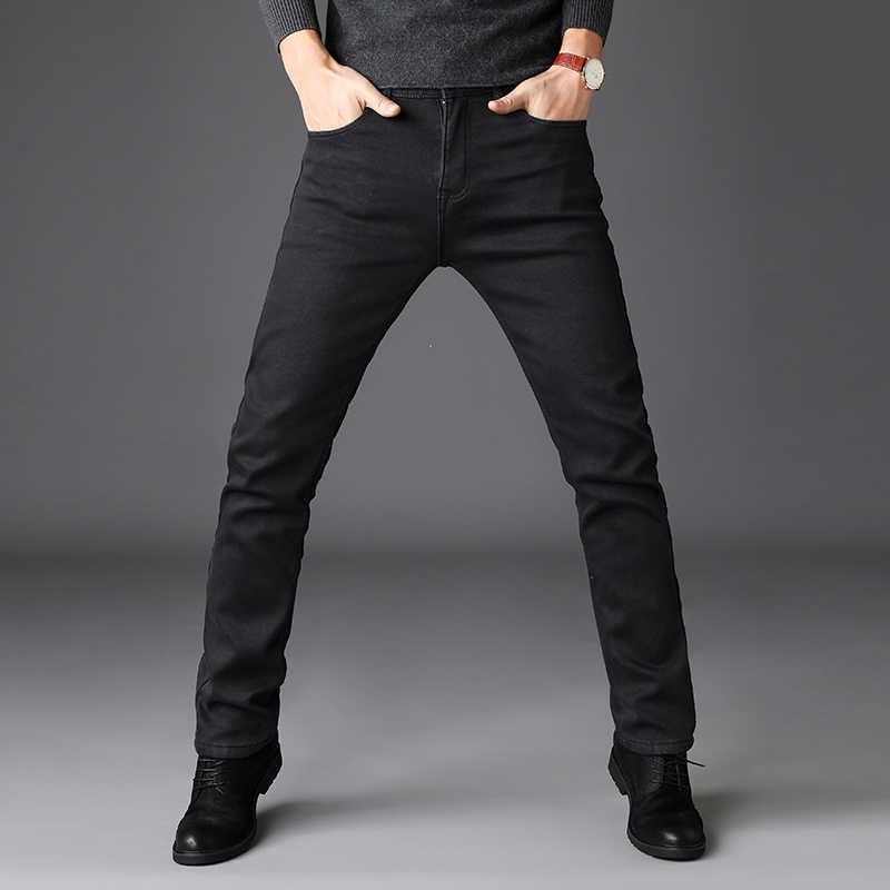 Новинка 2019, мужские облегающие черные джинсы средней плотности, Модные Повседневные Классические Стильные Эластичные Обтягивающие Брюки, мужские Брендовые джинсовые штаны серого цвета