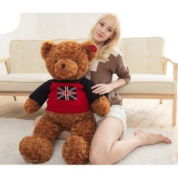 [120cm 3 Color] 3.5kg giant teddy bear stuffed plush toys,USA UK Flag Sweater Bear Christmas gift,Kid Birthday Present Bear Toys 120cm giant teddy bear with rose plush toys stuffed plush toys large size teddy bear birthday gifts