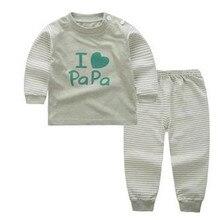 Free ship 0-12M autumn boys girls winter long sleeved cotton underwear the fall pajamas kids family christmas pyjamas A00136