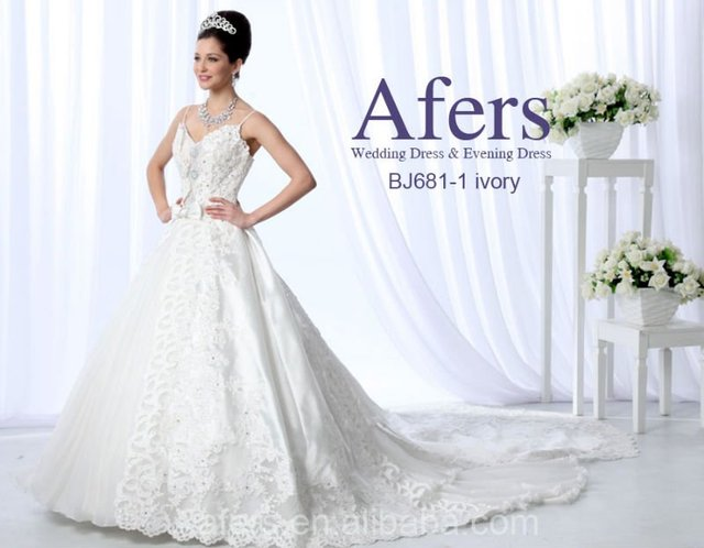 Afers luxurious Wedding dress,long trailing bridal dress NO.J681-1