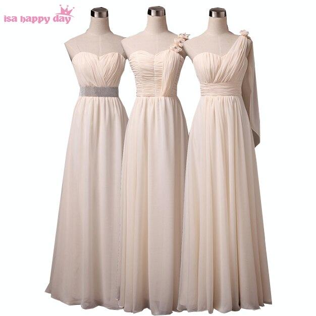 eda70d785 صورة حقيقية larga vestidos elegantes الشمبانيا شقيقة العروس وصيفه الشرف  فساتين زائد الحجم متواضع الشيفون اللباس B2743