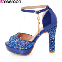 Smeeroon new style spring autumn fashion extreme high heels platform sandals peep toe slip on shallow with buckle women shoes