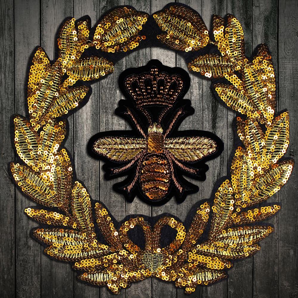 2Pcs Handmade Beaded Sequin Heart Criown Design Patches Badge Applique Motif