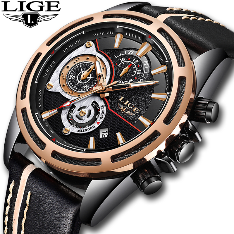 купить LIGE Brand 2018 Men's Fashion Casual Sport Watches Men Waterproof Leather Quartz Watch Man military Clock Relogio Masculino +box по цене 2039.25 рублей