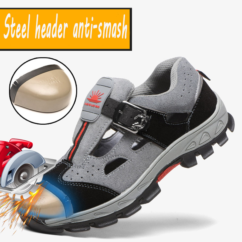 Cool Labor Shoes Sandals Men's Summer Light Breathable Deodorant Steel Casual Anti-smash Anti-slip Women Work Safety Shoes 45 46