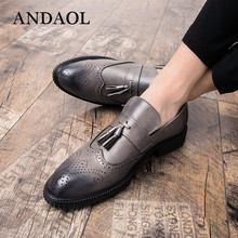 ANDAOL Men's Leather Casual Shoes Top Quality Tassel Genuine Cow Leather Breathable Oxfords Luxury Slip-On Wedding Party Shoes