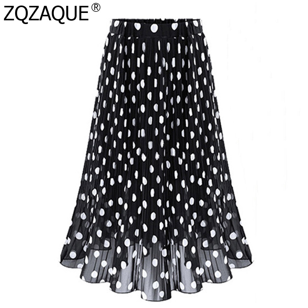 2019 Summer Chiffon Skirt For Women's Blue Black White Polka Dots Skirts Ladies Loose Elastic Waist Lace Skirts Casual All-Match