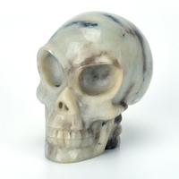 3.1 '' Natural Lepidolite Hand Carved Alien Crystal Skull Statue Gemstone Carving Crafts Healing Realistic Sculpture Home Decor