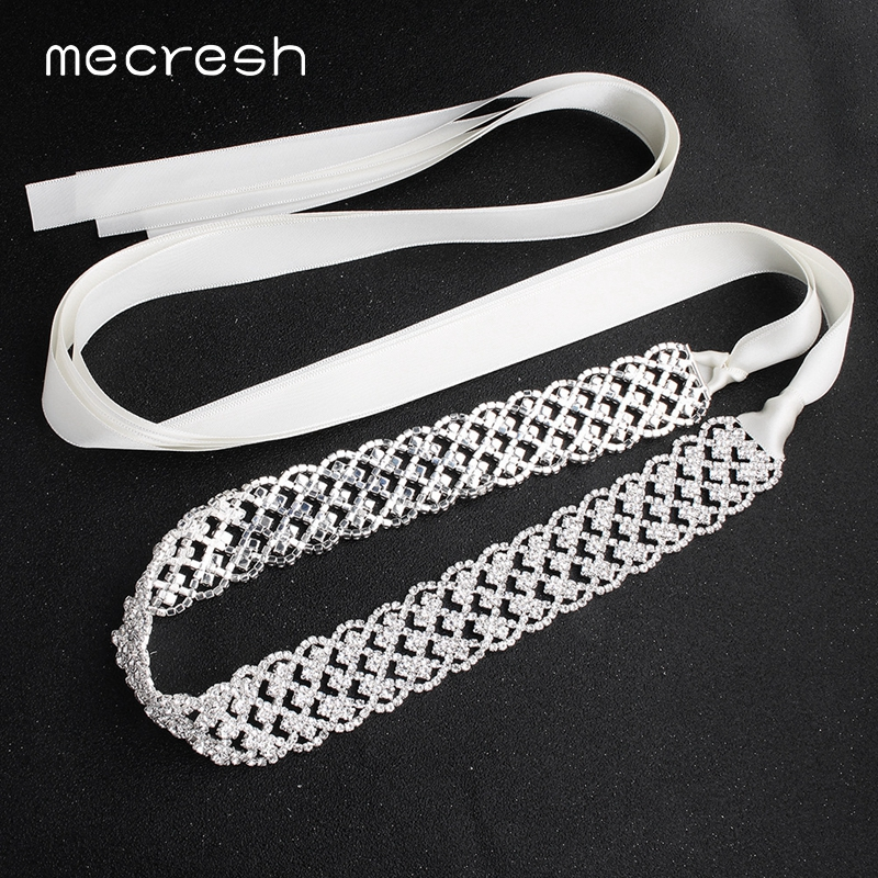 Mecresh Handmade White Pink Ribbon Bridal Dress Belt Women Accessories Rhinestone Satin Bride Belt Sash For Wedding Dress MYD023