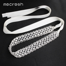 Mecresh Handmade White Pink Ribbon Bridal Dress Belt Women Accessories Rhinestone Satin Bride Sash for Wedding MYD023